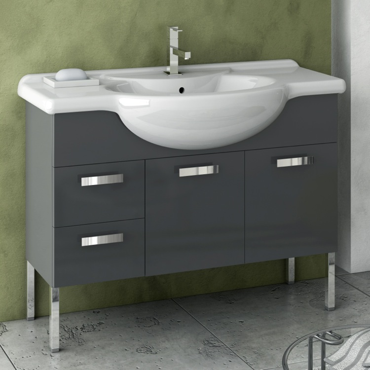 Bathroom Vanity, ACF PH10-Glossy Anthracite, 39 Inch Vanity Cabinet With Fitted Sink