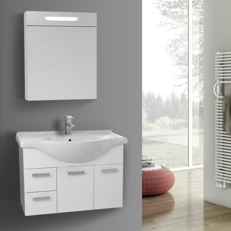 32 Inch Wall Mount Glossy White Bathroom Vanity Set Lighted Medicine Cabinet Included