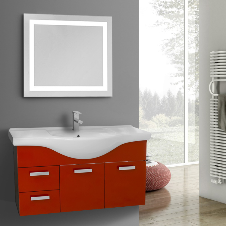 39 Inch Wall Mount Glossy Red Bathroom Vanity Set, ACF PH90 ...