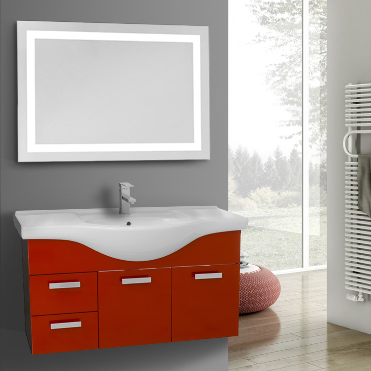 39 Inch Wall Mount Glossy Red Bathroom Vanity Set