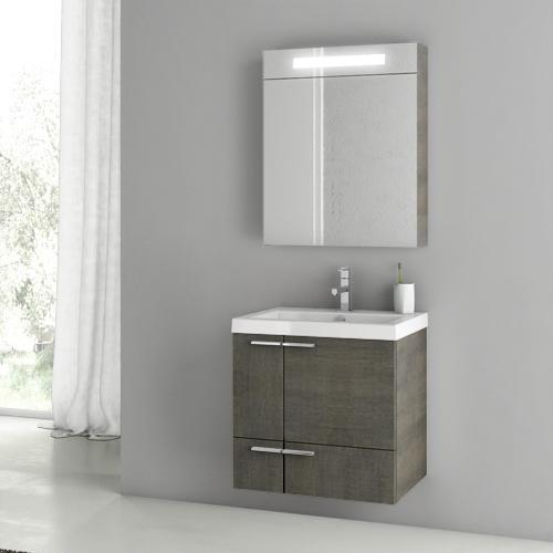 23 Inch Grey Oak Bathroom Vanity