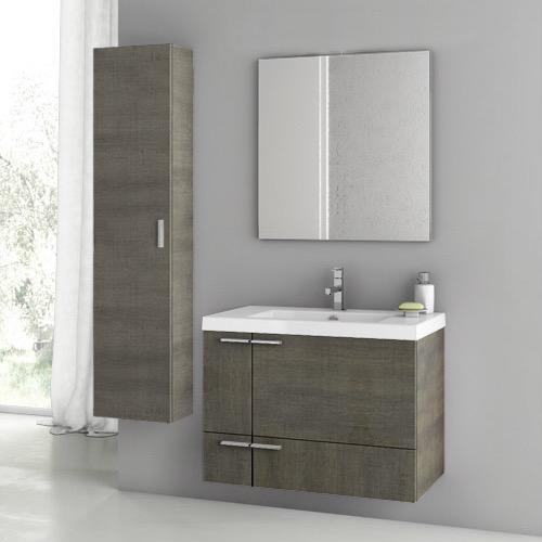 Bathroom Vanity, ACF ANS71, 31 Inch Grey Oak Bathroom Vanity Set