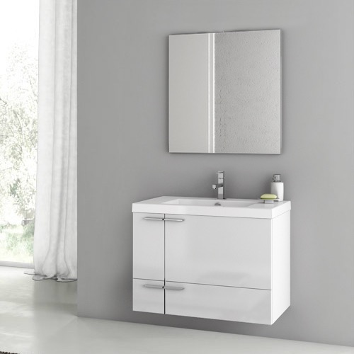 Bathroom Vanity, ACF ANS60, 31 Inch Glossy White Bathroom Vanity Set