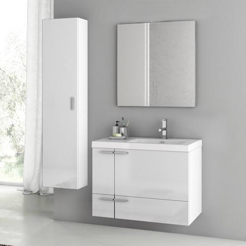 Superior Bathroom Vanity, ACF ANS83, 31 Inch Glossy White Bathroom Vanity Set