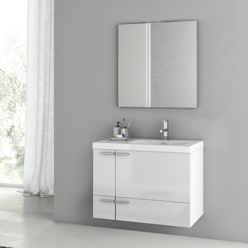Bathroom Vanity, ACF ANS68, 31 Inch Glossy White Bathroom Vanity Set
