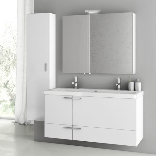 Acf Ans218 By Nameek S New Space 47 Inch Glossy White Bathroom Vanity Set Thebathoutlet