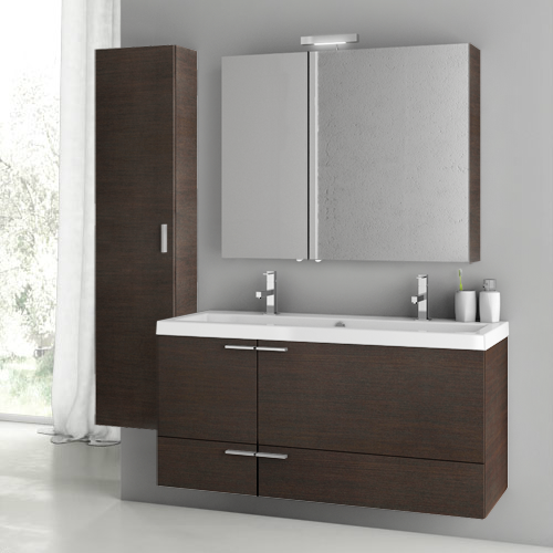 Bathroom Vanity, ACF ANS215, 47 Inch Wenge Bathroom Vanity Set