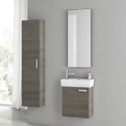 Bathroom Vanity, ACF C51, 18 Inch Grey Oak Bathroom Vanity Set