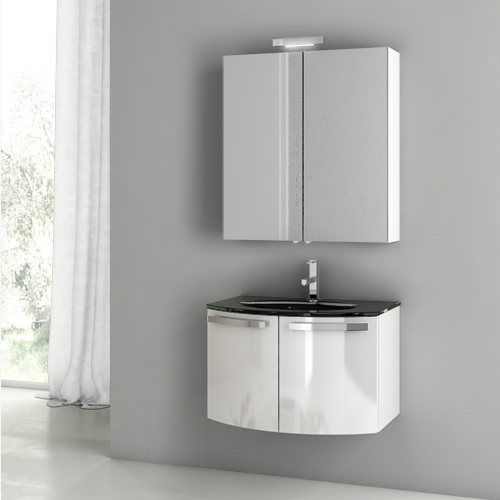 28 inch glossy white bathroom vanity set, acf cd11 - thebathoutlet 28 Bathroom Vanity