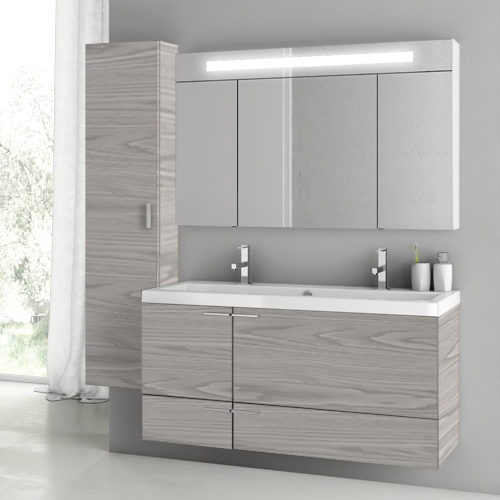 Bathroom Vanity, ACF ANS1412, 47 Inch Grey Walnut Bathroom Vanity Set