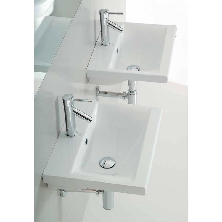 Wall Mounted Rectangular Sink : Bathroom Sink, Althea 30382, Rectangular White Ceramic Wall Mounted or ...