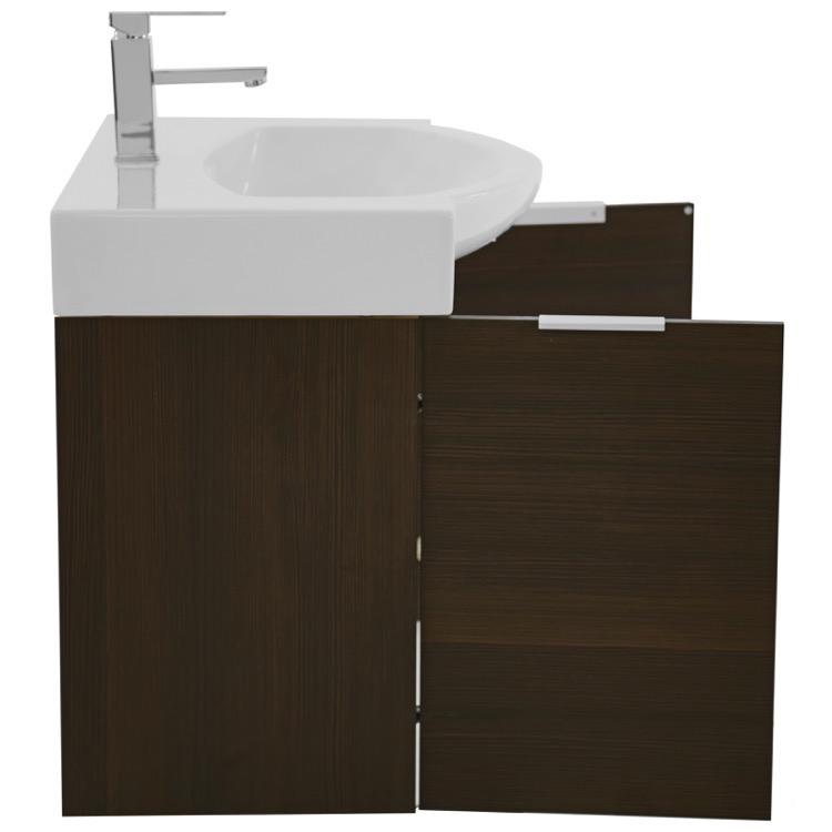 28 inch wall mount larch brown vanity cabinet with fitted curved sink