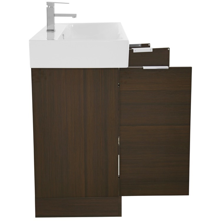 Inch Larch Brown Floor Standing Bathroom Vanity Set Vanity Mirror