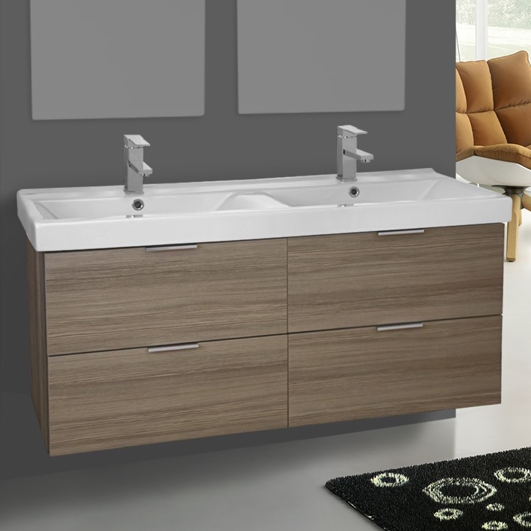 Bathroom Vanity, ARCOM DF01, 47 Inch Wall Mount Larch Canapa Double Vanity  Cabinet With
