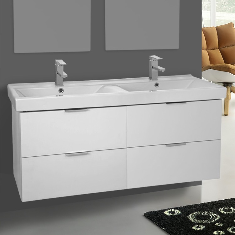 Bathroom Vanity, ARCOM DF02, 47 Inch Wall Mount Ash White Double Vanity Cabinet With Fitted Sink