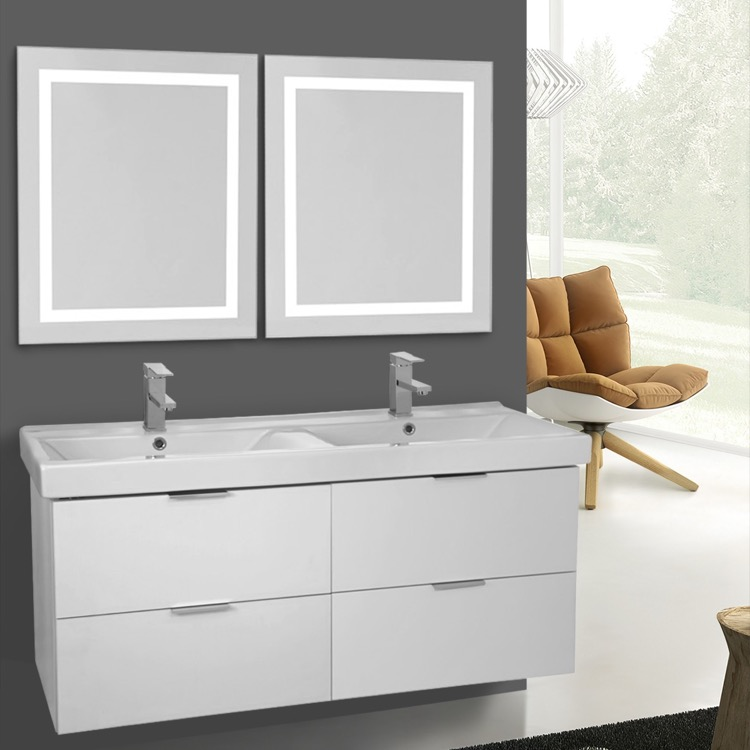Bathroom Vanity, ARCOM DF24, 47 Inch Ash White Wall Mounted Bathroom Vanity Set, Lighted Vanity Mirror Included