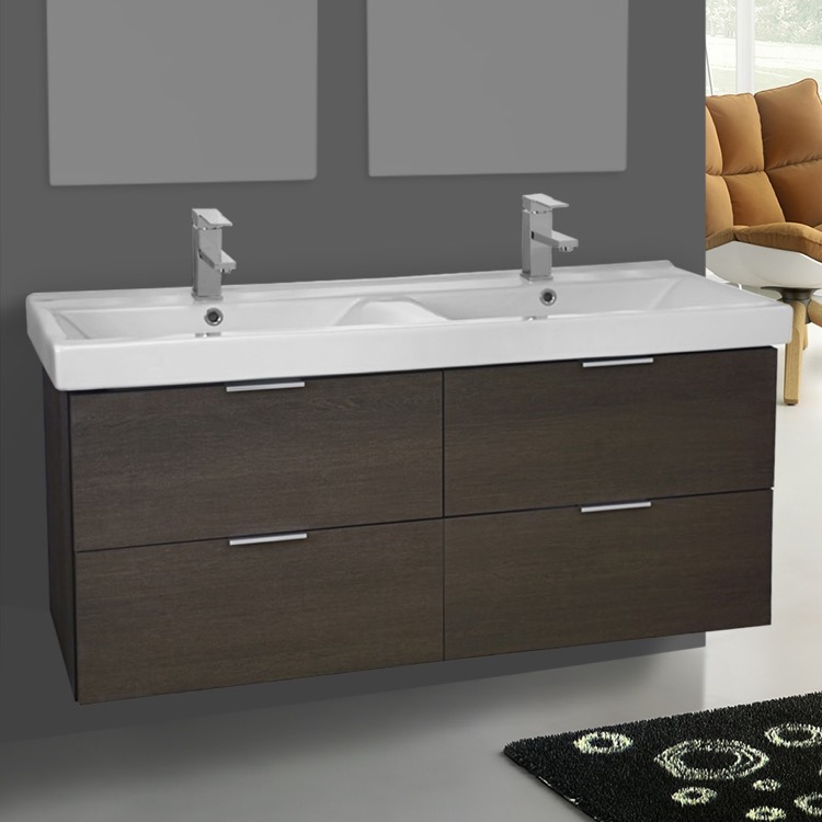 Inch Wall Mount Grey Oak Double Vanity Cabinet With Fitted Sink - 47 bathroom vanity sink cabinet