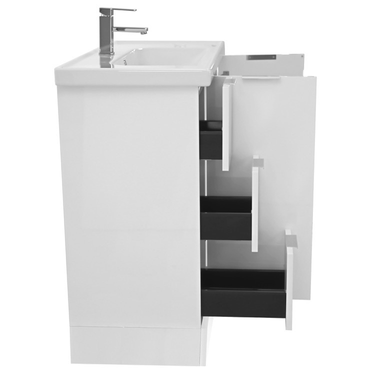39 inch floor standing glossy white vanity cabinet with fitted sink