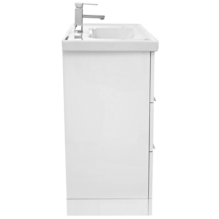 arcom waloomi 39 inch glossy white floor standing bathroom vanity set