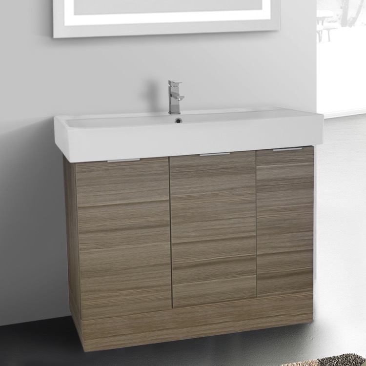 Bathroom Vanity, ARCOM O4O03, 40 Inch Floor Standing Larch Canapa Vanity Cabinet With Fitted Sink