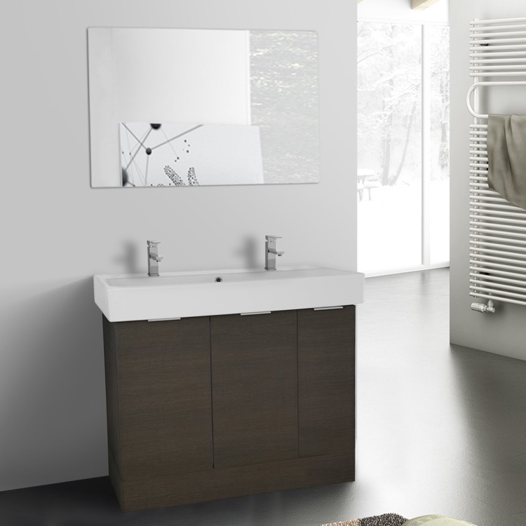 Bathroom Vanity, ARCOM O4T53, 40 Inch Grey Oak Floor Standing Bathroom  Vanity Set,