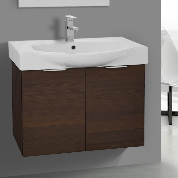 Bathroom Vanity ARCOM KAL04 28 Inch Wall Mount Larch Brown Vanity Cabinet With Fitted & 28 Inch Wall Mount Larch Brown Vanity Cabinet With Fitted Curved ...