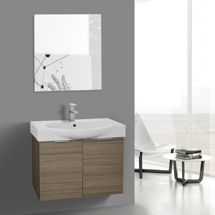 28 inch larch canapa wall mounted bathroom vanity set, vanity mirror 28 Bathroom Vanity