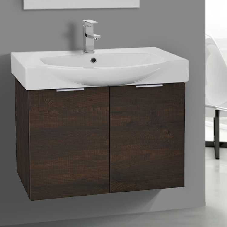Bathroom Vanity, ARCOM KAL07, 28 Inch Wall Mount Sherwood Burn Vanity Cabinet With Fitted Curved Sink