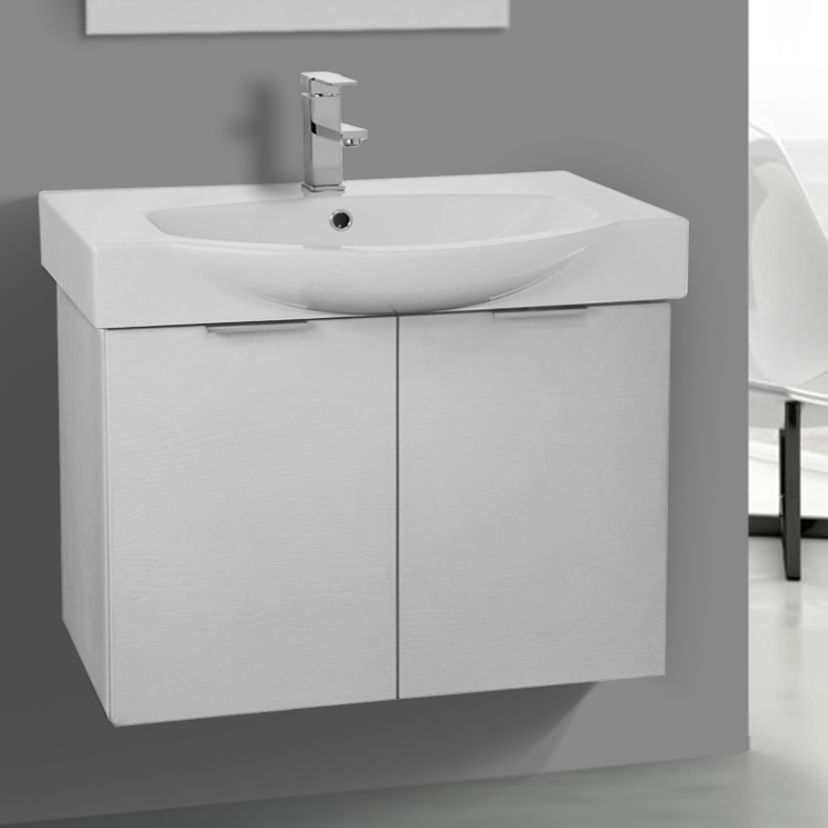 Bathroom Vanity, ARCOM KAL06, 28 Inch Wall Mount Sherwood White Vanity Cabinet With Fitted Curved Sink