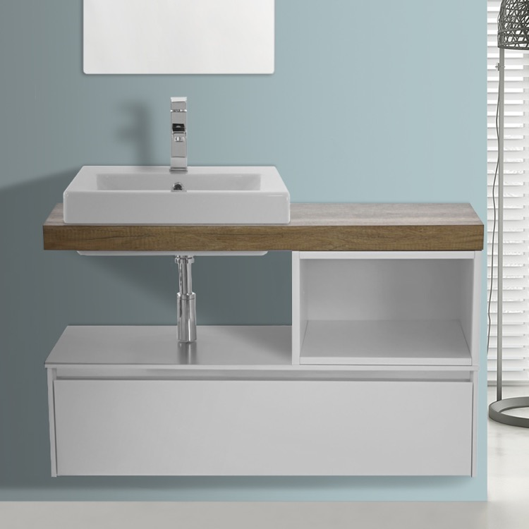 Bathroom Vanity, ARCOM LAF01, 41 Inch Wall Mount White/Aged Brown Top Vanity Cabinet With Square Vessel Sink