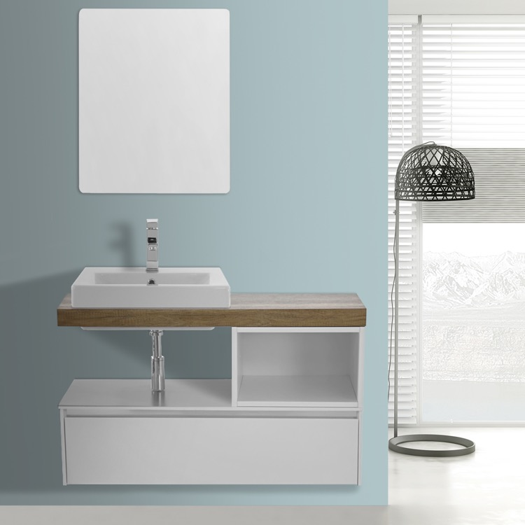 Bathroom Vanity, ARCOM LAF05, 41 Inch White With Aged Brown Top Wall  Mounted Bathroom