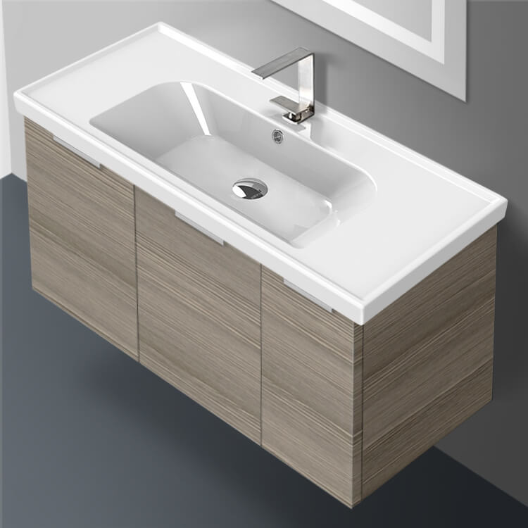 Bathroom Vanity, ARCOM LAM01, 39 Inch Wall Mount Larch Canapa Vanity Cabinet With Fitted Sink