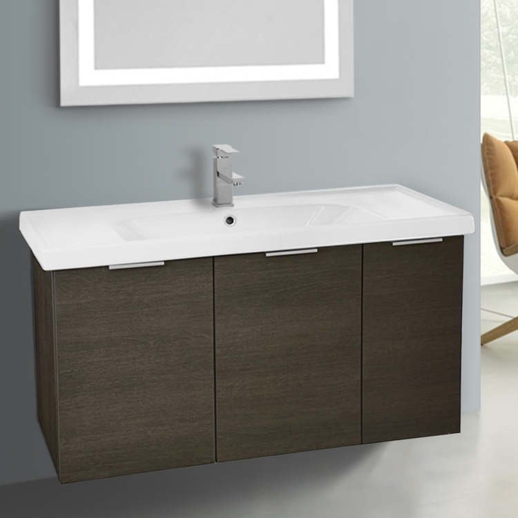 Inch Wall Mount Grey Oak Vanity Cabinet With Fitted Sink ARCOM - 39 bathroom vanity cabinet