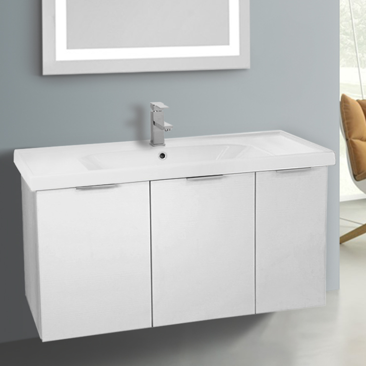 Bathroom Vanity, ARCOM LAM02, 39 Inch Wall Mount Larch White Vanity Cabinet With Fitted Sink