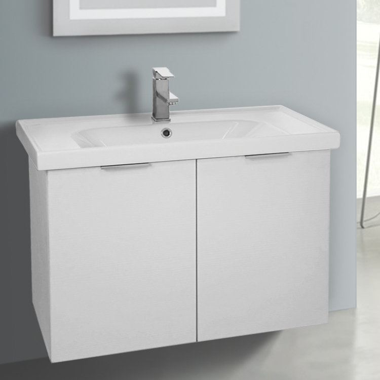 Bathroom Vanity Arcom Lam05 31 Inch Wall Mount Larch White Cabinet With Ed