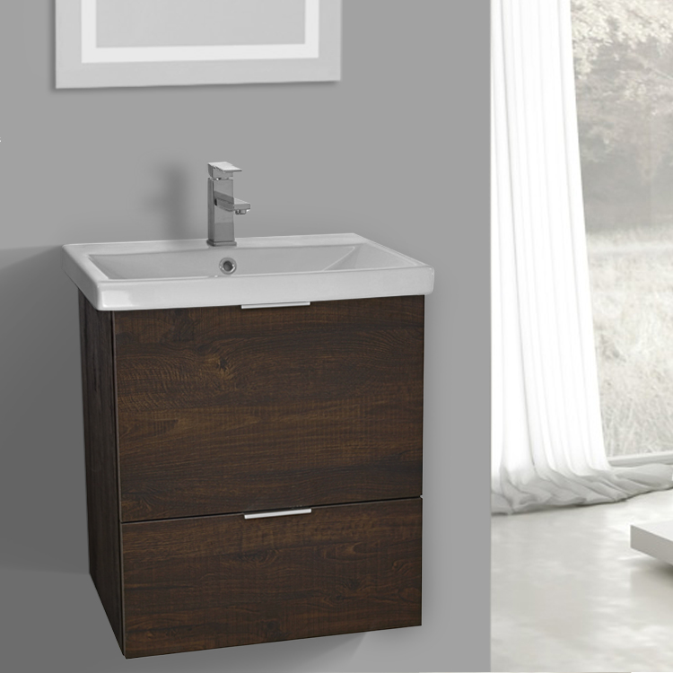 Beautiful Bathroom Vanity, ARCOM ME01, 24 Inch Wall Mount Sherwood Burn Vanity  Cabinet With Fitted