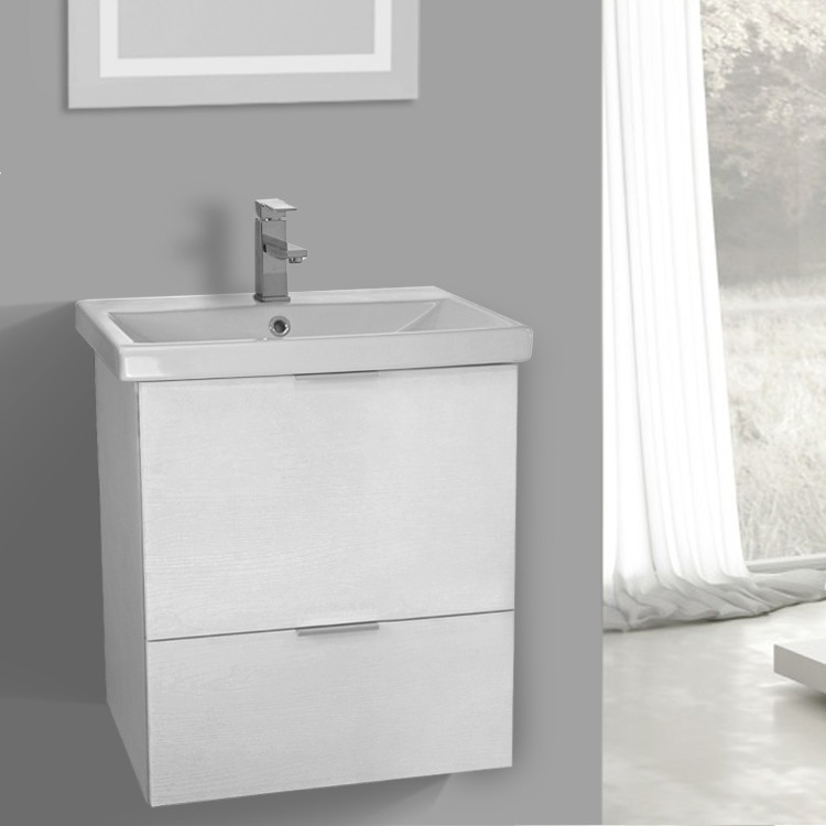 Bathroom Vanity, ARCOM ME02, 24 Inch Wall Mount Sherwood White Vanity  Cabinet With Fitted
