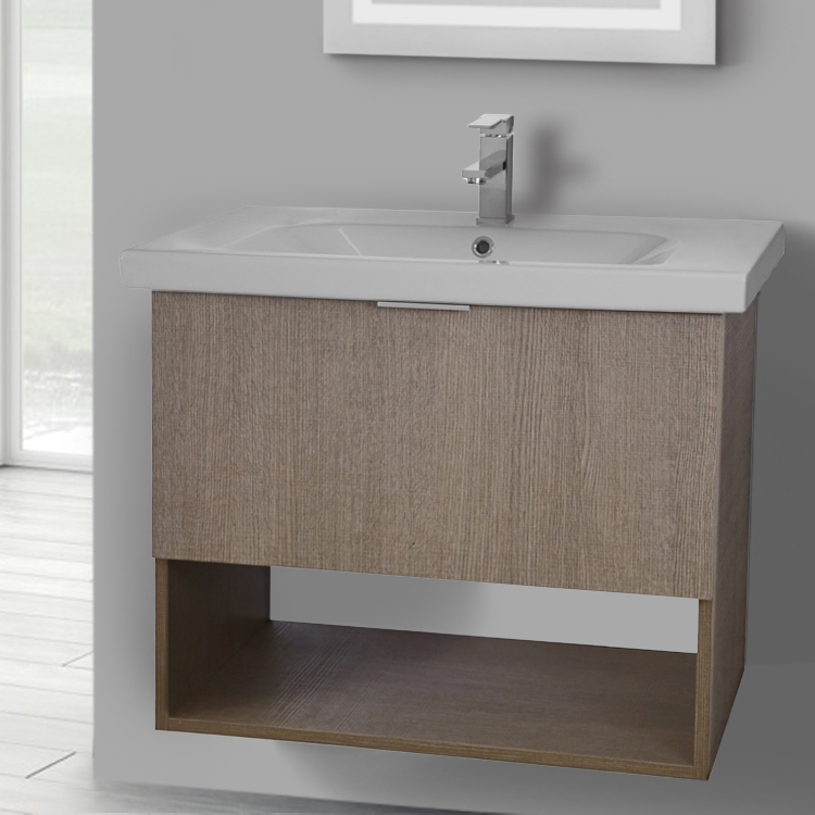Bathroom Vanity, ARCOM OP01, 32 Inch Wall Mount Canapa Tranche Oak Vanity Set, 1 Drawer and Open Space