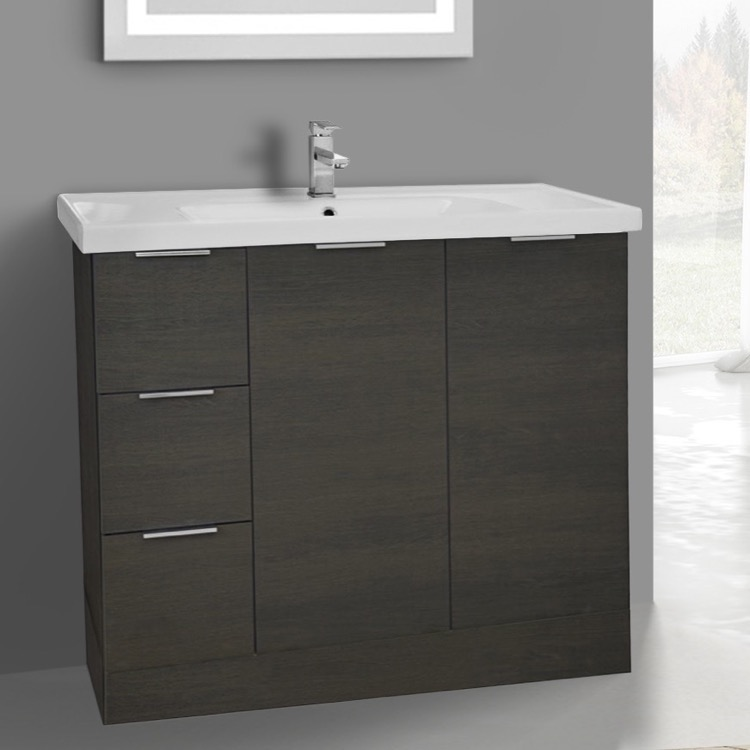 Bathroom Vanity, ARCOM WA04, 39 Inch Floor Standing Grey Oak Vanity Cabinet With Fitted Sink