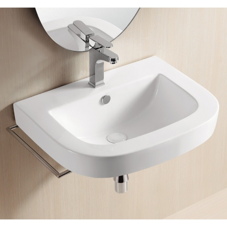 Sink, Caracalla CA40054, Square White Ceramic Wall Mounted Or Vessel .