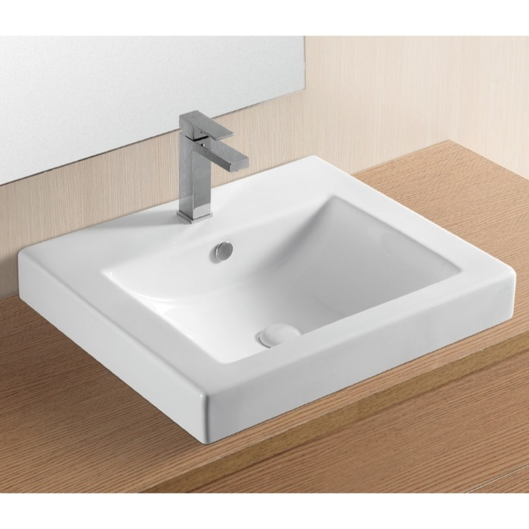 Bathroom Sink, Caracalla CA4024A-One Hole, Rectangular White Ceramic Drop In Bathroom Sink