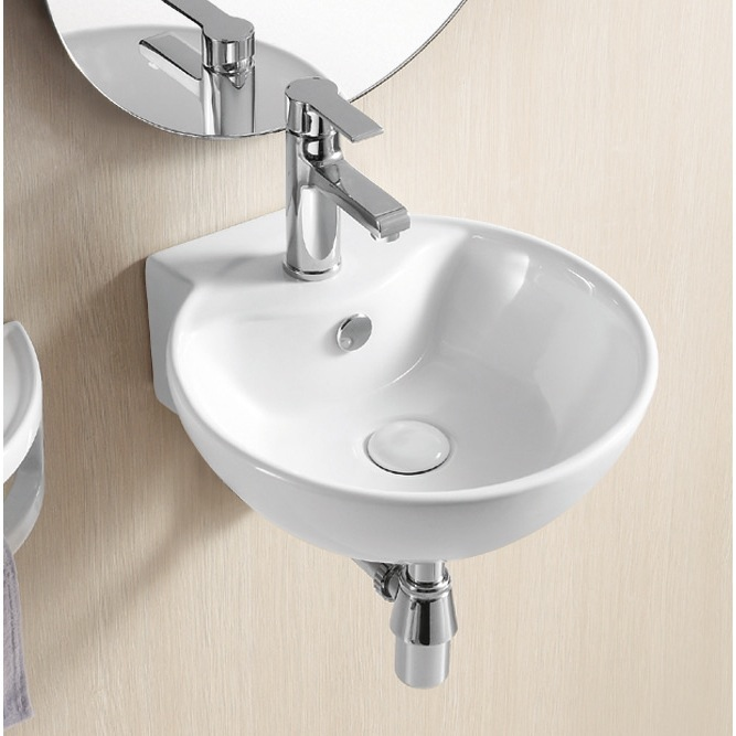 Bathroom Sink, Caracalla CA4033, Round White Ceramic Wall Mounted Bathroom Sink