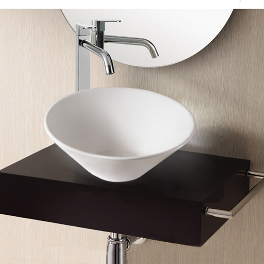 Bathroom Sink, Caracalla CA4037-No Hole, Round White Ceramic Vessel Bathroom Sink