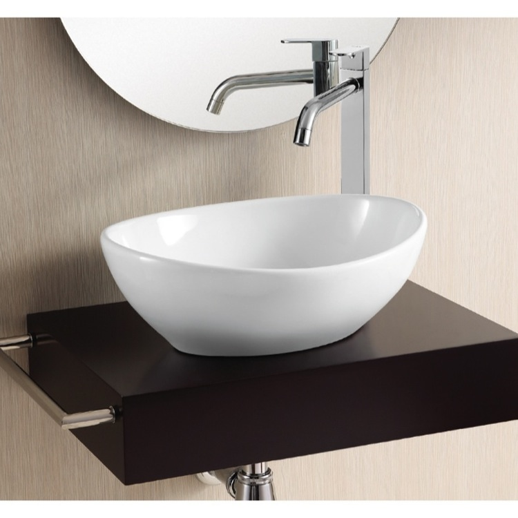 Elegant Bathroom Sink, Caracalla CA4047, Oval White Ceramic Vessel Bathroom Sink