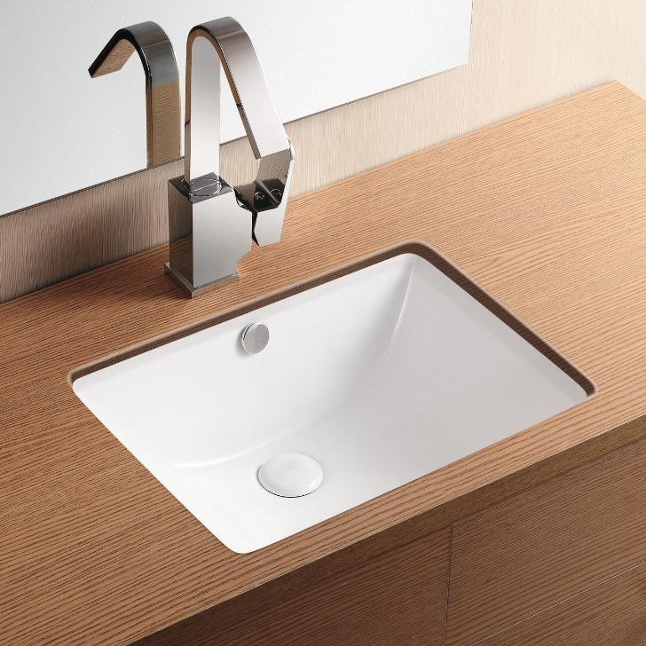 Bathroom Sink, Caracalla CA4070, Rectangular White Ceramic Undermount Bathroom Sink