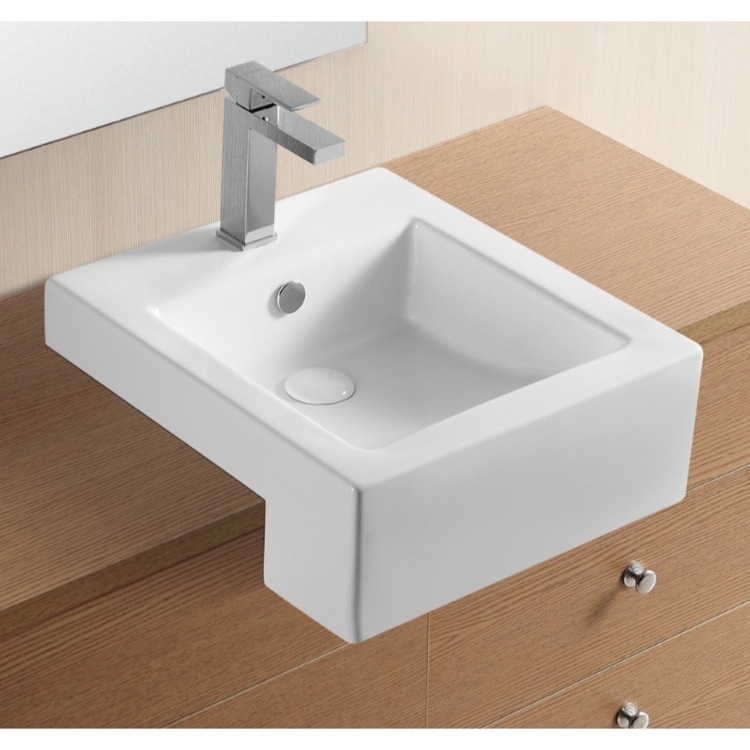 Bathroom Sink Square White Ceramic Semi Recessed Bathroom Sink Caracalla  CA4076C