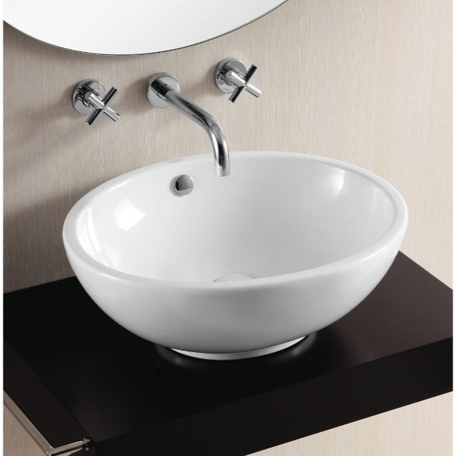 ... Sink, Caracalla CA4094, Oval White Ceramic Vessel Bathroom Sink