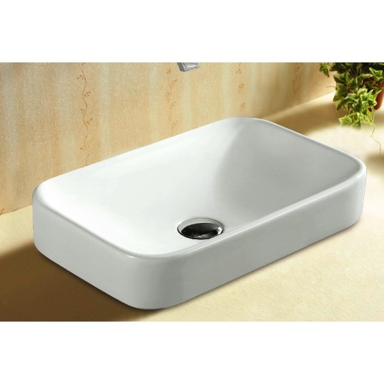 Bathroom Sink, Caracalla CA4120A, Rectangular White Ceramic Self Rimming Bathroom Sink CA4120A