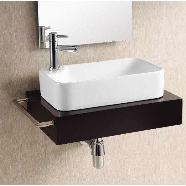 Bathroom Sink, Caracalla CA4121-One Hole, Rectangular White Ceramic Vessel Bathroom Sink