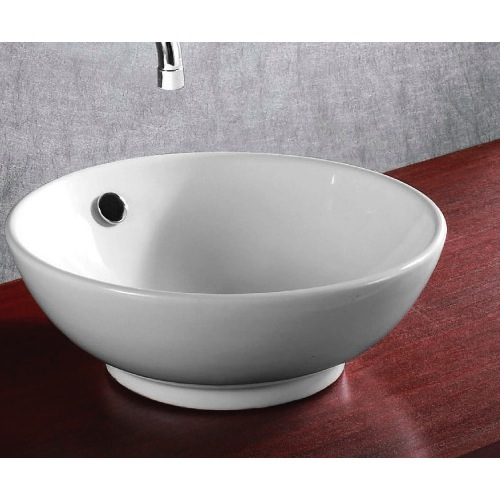 Bathroom Sink, Caracalla CA4129-No Hole, Round White Ceramic Vessel Bathroom Sink